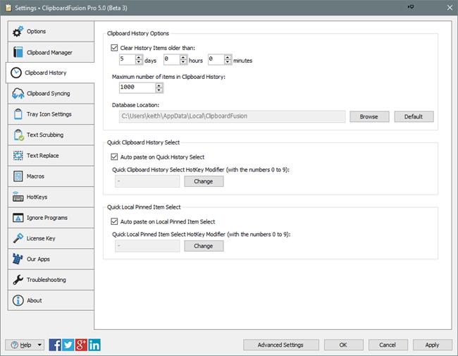 ClipboardFusion Clipboard History Settings Tab