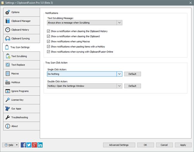 ClipboardFusion Tray Icon Settings Tab