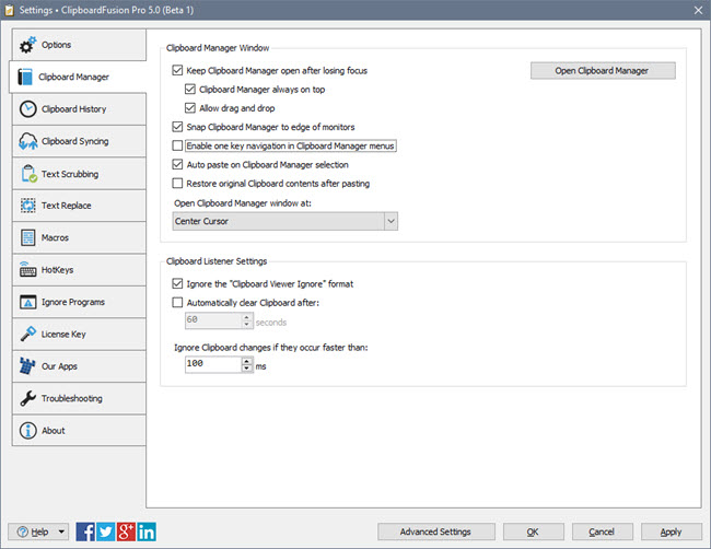 ClipboardFusion Settings Window