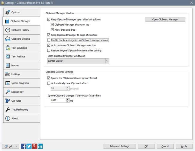 ClipboardFusion Settings Window