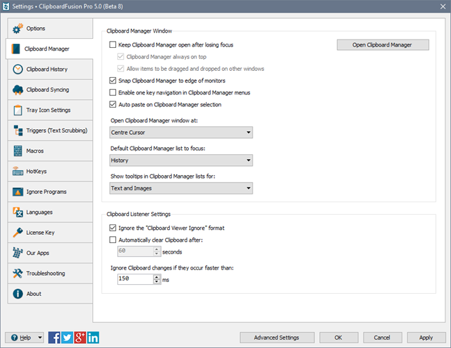ClipboardFusion Clipboard Manager Settings Tab